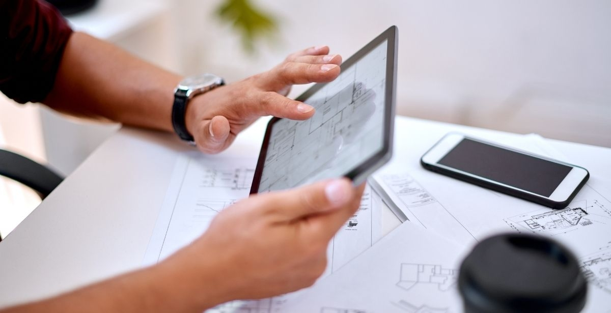 CAD professional on tablet
